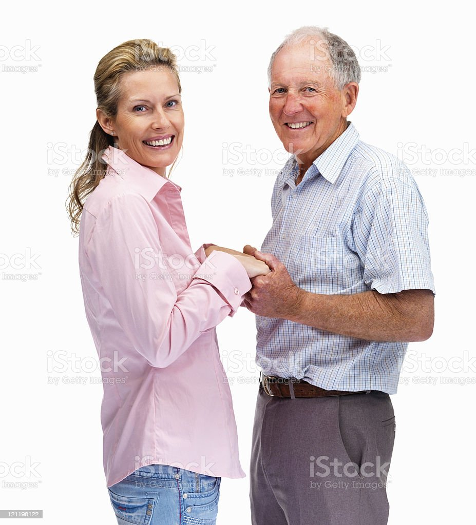 Happy father and daughter holding hands of each other royalty-free stock photo
