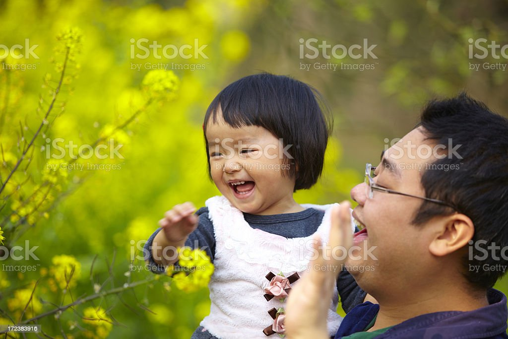 happy father and daughter in spring day royalty-free stock photo