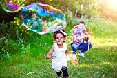 Happy, Family, Soap Bubbles, Park