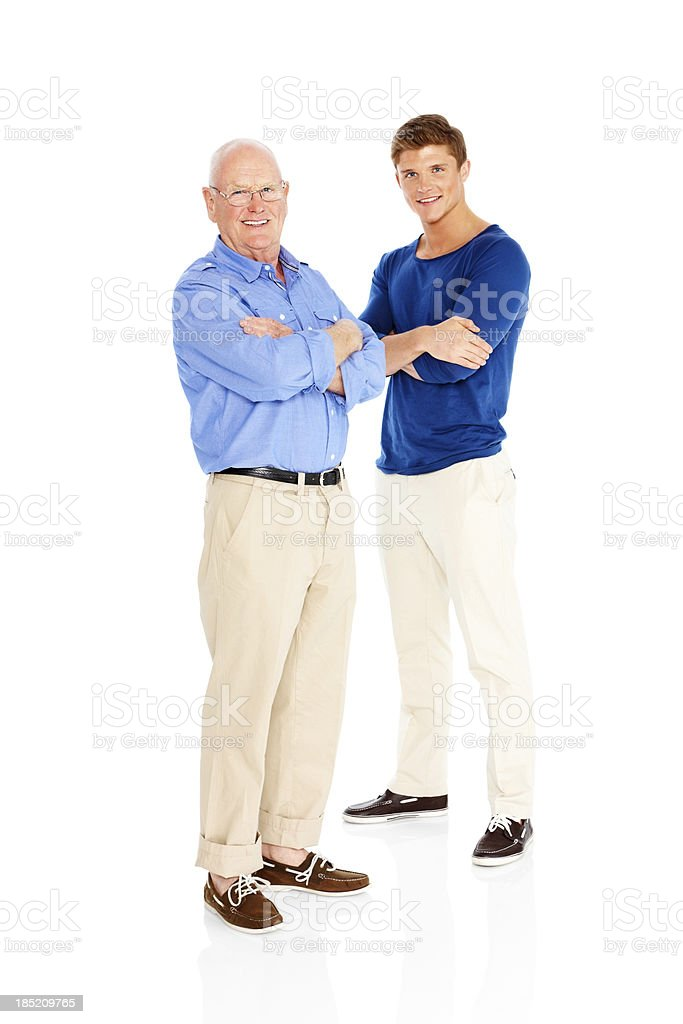 Happy father and son isolated on white background royalty-free stock photo