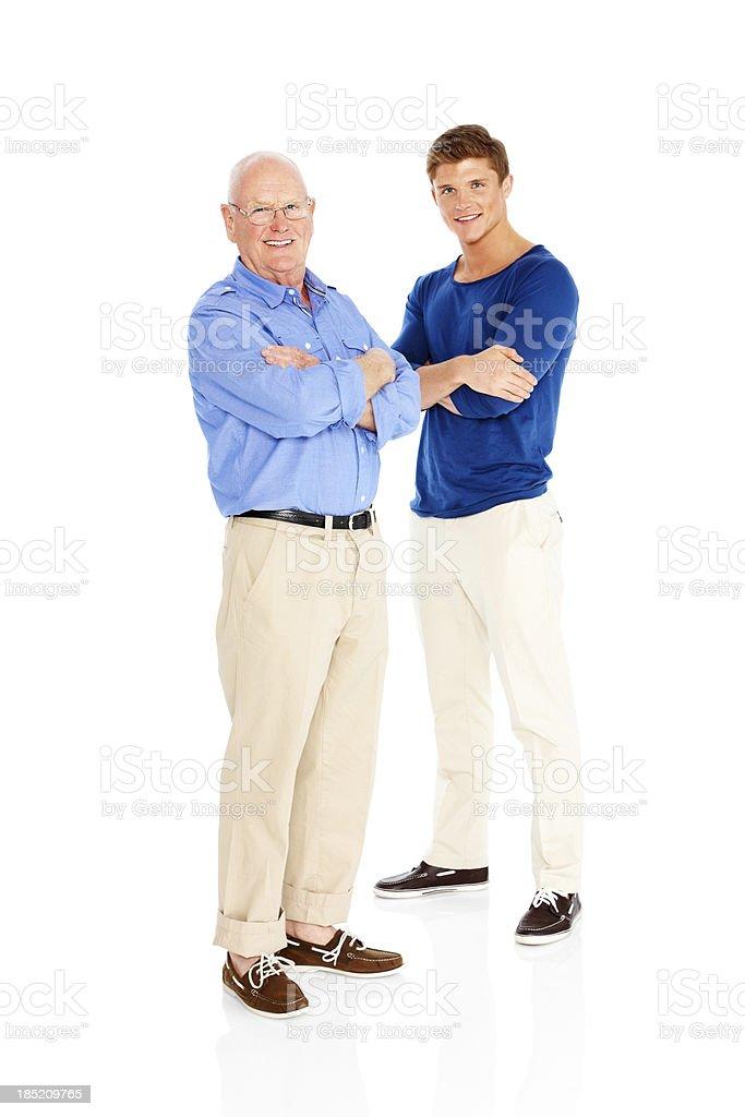 Feliz Padre e hijo aislado sobre fondo blanco - foto de stock