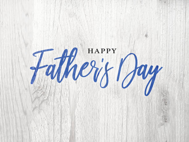 happy father's day blue calligraphy script over white wood - fathers day stock photos and pictures