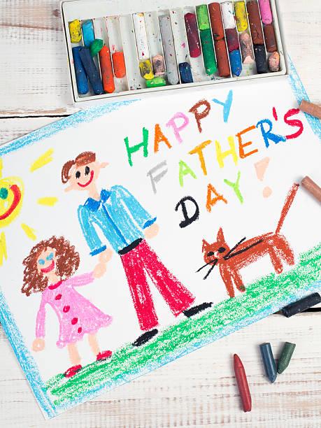 happy fathers day karte von einem kind  - vatertagsgrüße stock-fotos und bilder