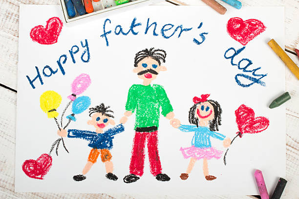 happy fathers day card with father and kids made by child - fathers day stock photos and pictures