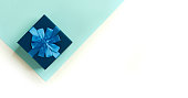 Happy Father's day greeting card with decorated gift box on blue background. Top view. Space for text. Banner.