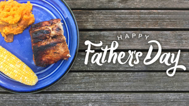 happy father's day grilled food - fathers day stock photos and pictures