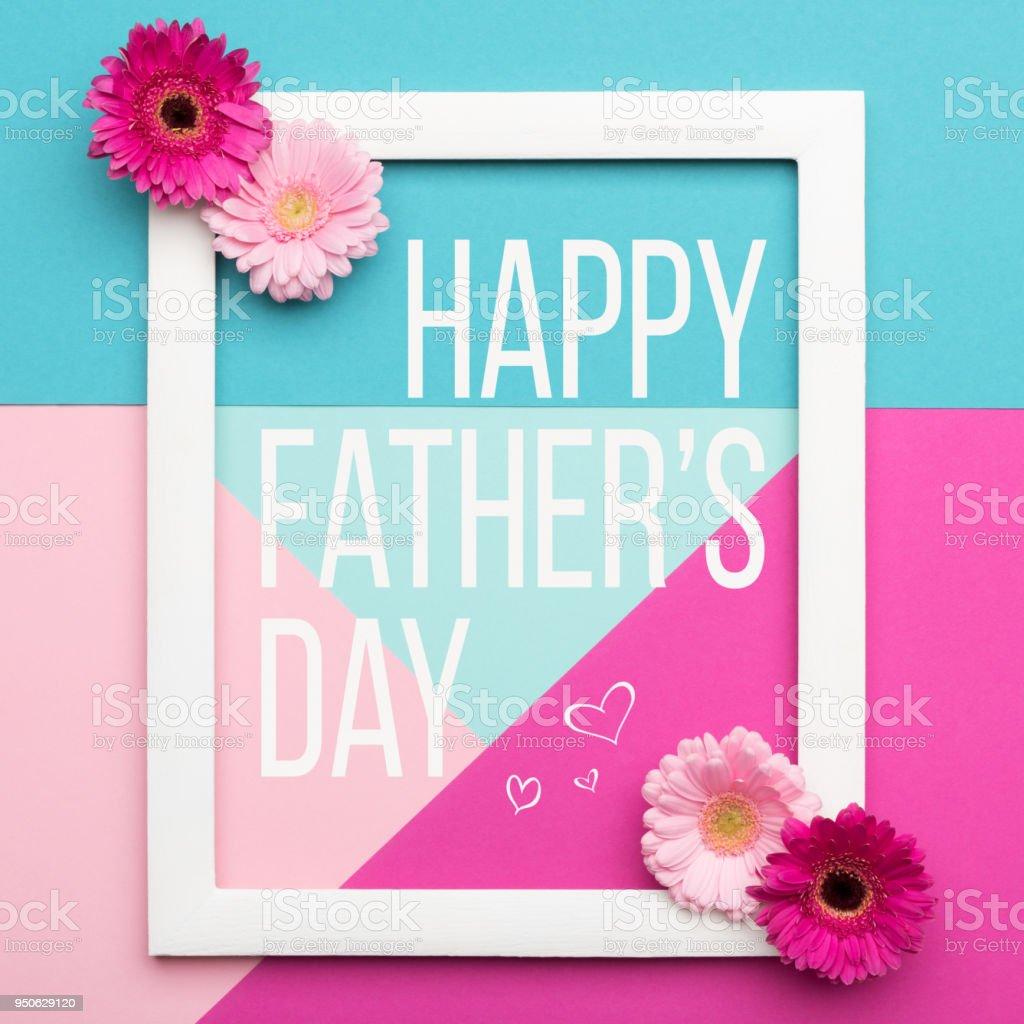 Dia do pai feliz fundo de cores Pastel doce. Apartamento floral colocar minimalismo padrões geométricos pai dia cartão com moldura. - foto de acervo