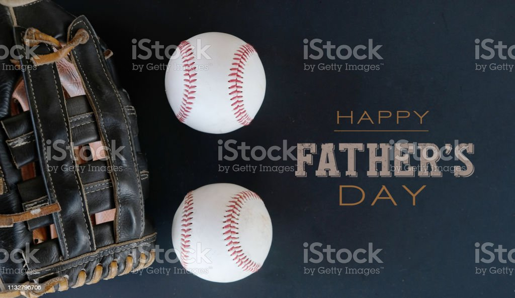 Happy Father's Day text with baseball glove and ball. stock photo