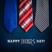 Happy Father's Day! Ties on chalkboard with message for dad