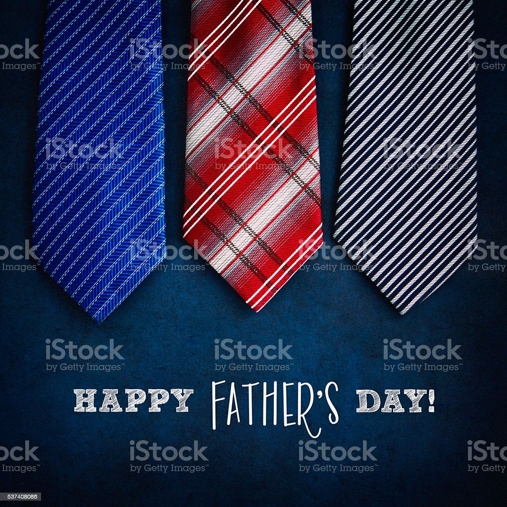 Happy Father's Day! Ties on chalkboard with message for dad stock photo