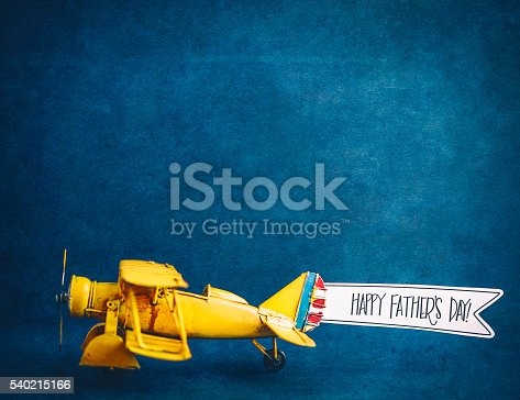 Happy Father's Day! Vintage airplane with handmade banner