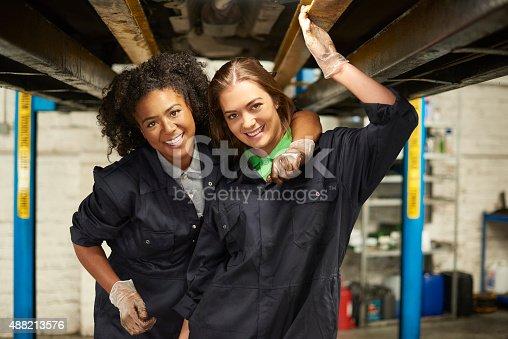 599909112 istock photo happy female auto mechanic trainees 488213576