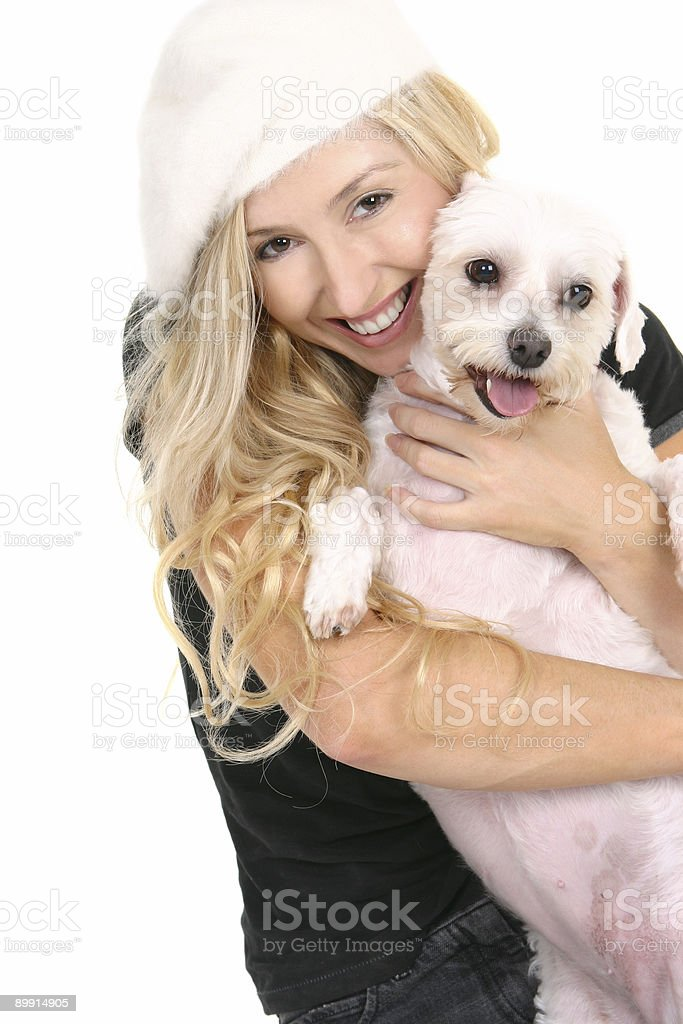 Happy female cuddling dog royalty free stockfoto
