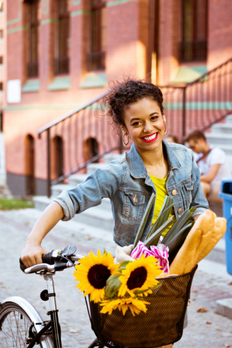 Happy Female Cyclist Stock Photo - Download Image Now