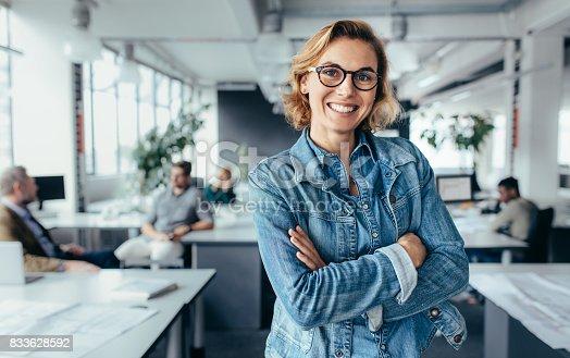 istock Happy female designer standing in office 833628592