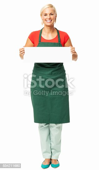 istock Happy Female Florist Showing Blank Placard 534211680