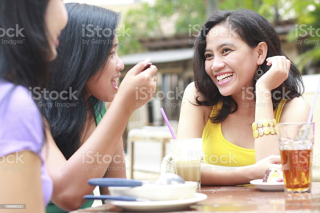 happy female friends together royalty-free stock photo
