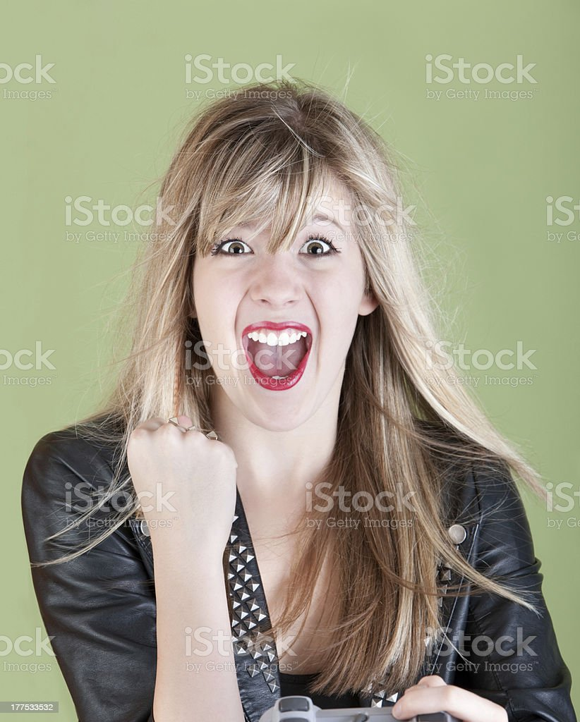 Happy Female Gamer royalty-free stock photo