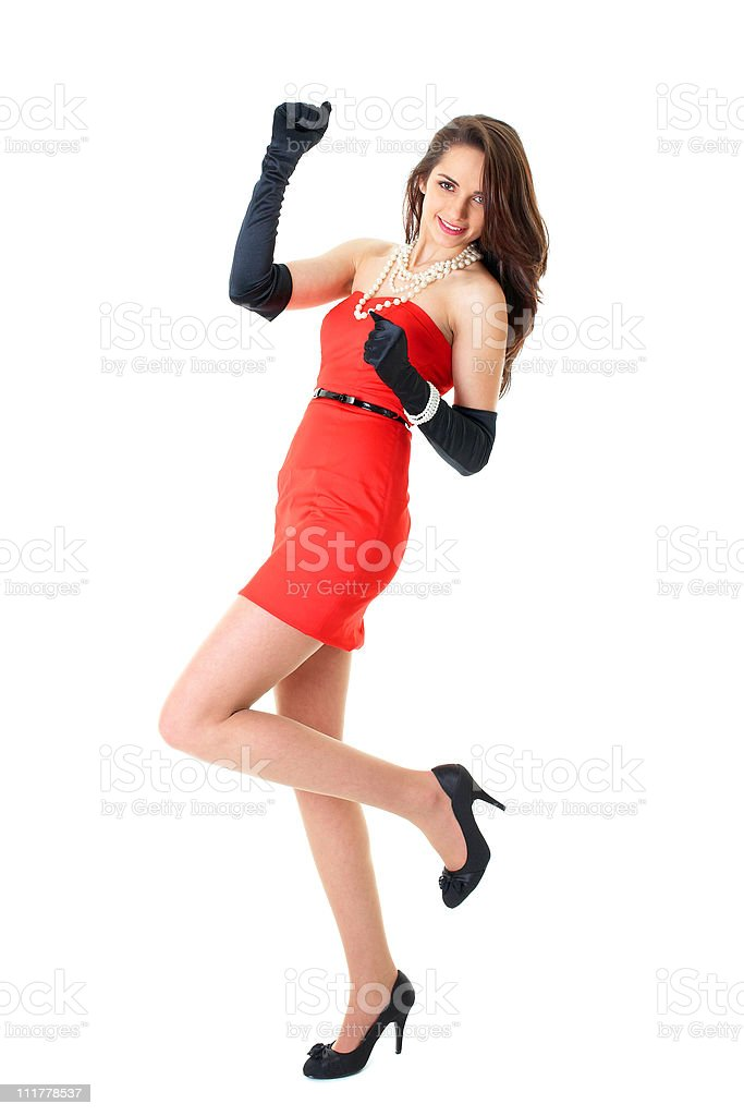 happy female in red strapless dress, isolated on white stock photo