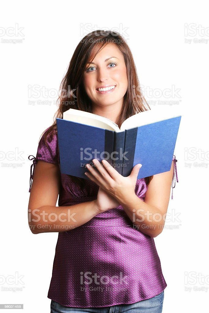 Happy female reading a book royalty-free stock photo