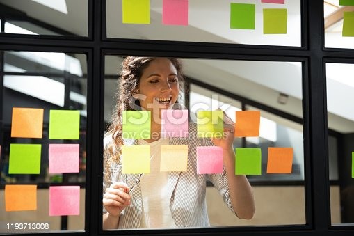 1147760705 istock photo Happy female scrum master writing tasks on sticky paper notes. 1193713008