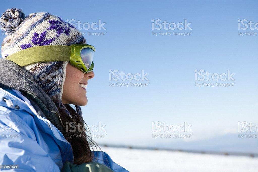 Happy female snowboarder royalty-free stock photo