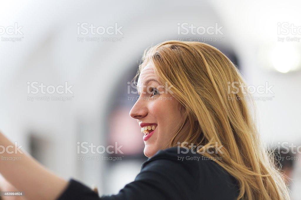 Happy female student stock photo