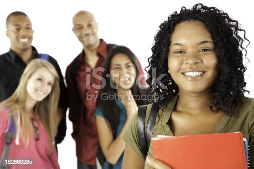 istock Happy Female Student With Friends Admiring Her 182869285