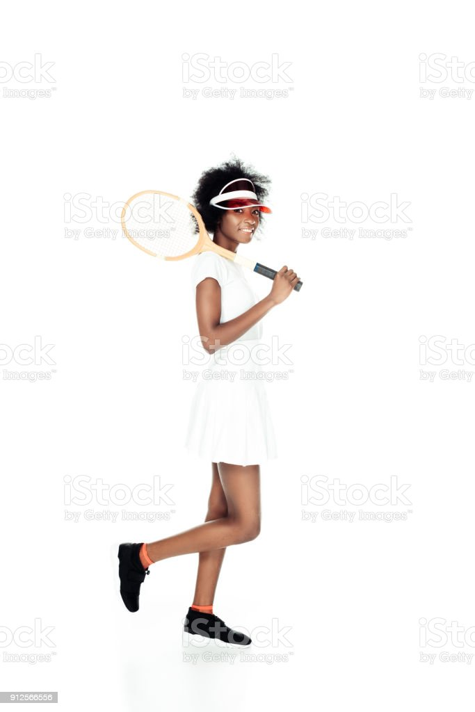 happy female tennis player with racket isolated on white stock photo