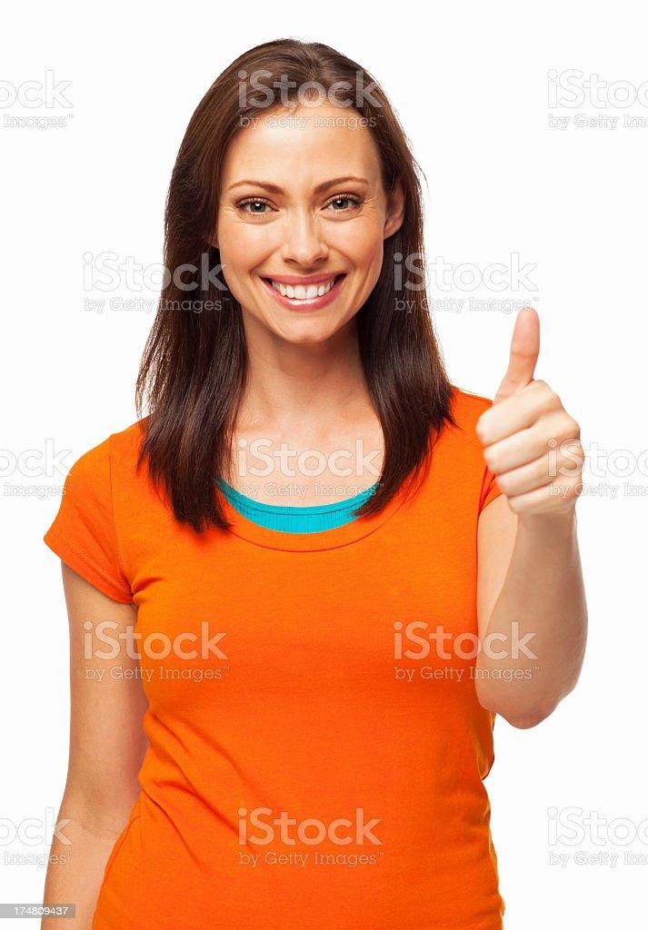 Happy Female Wishing Good Luck - Isolated royalty-free stock photo