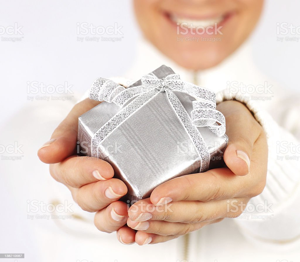 Happy female with a gift royalty-free stock photo