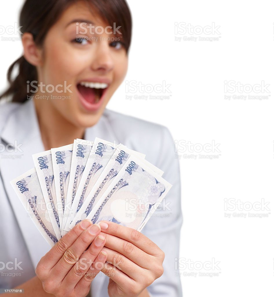 Happy female with Japanese notes on white , royalty-free stock photo