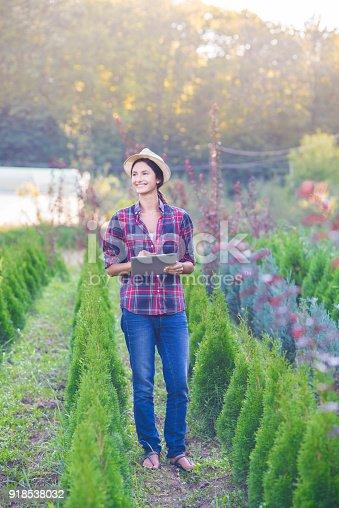 1043434558 istock photo Happy female working in the garden center. 918538032