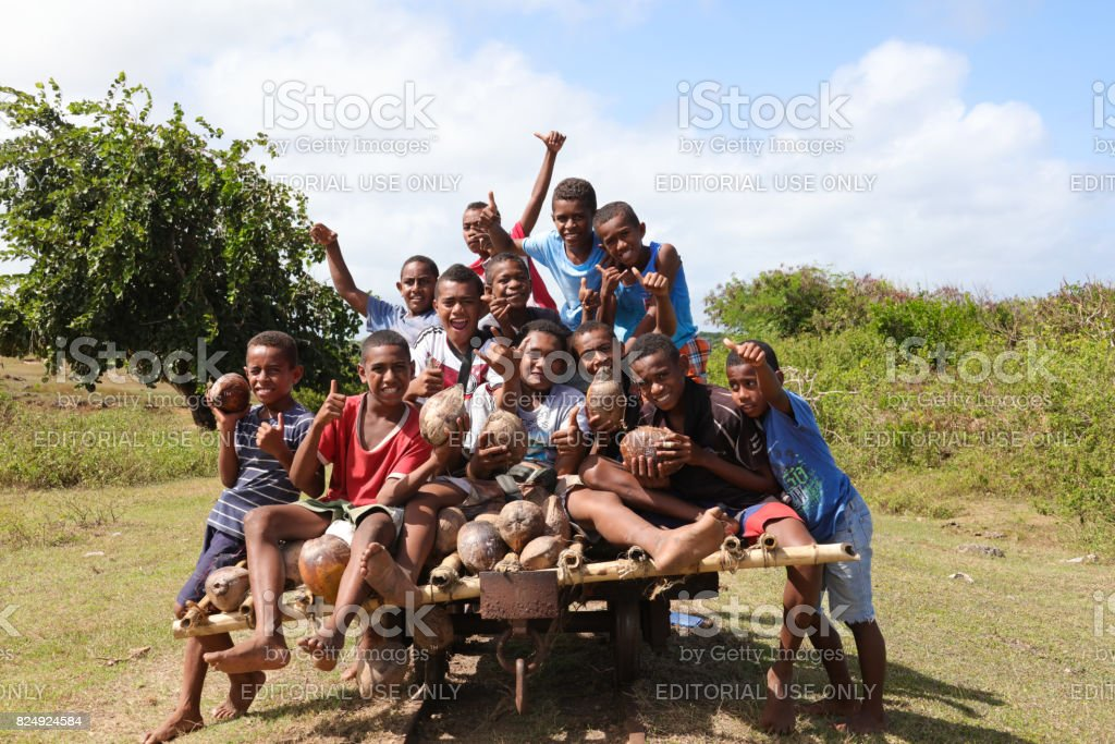 Happy Fijian Children On Viti Levu Fiji Islands Stock Photo