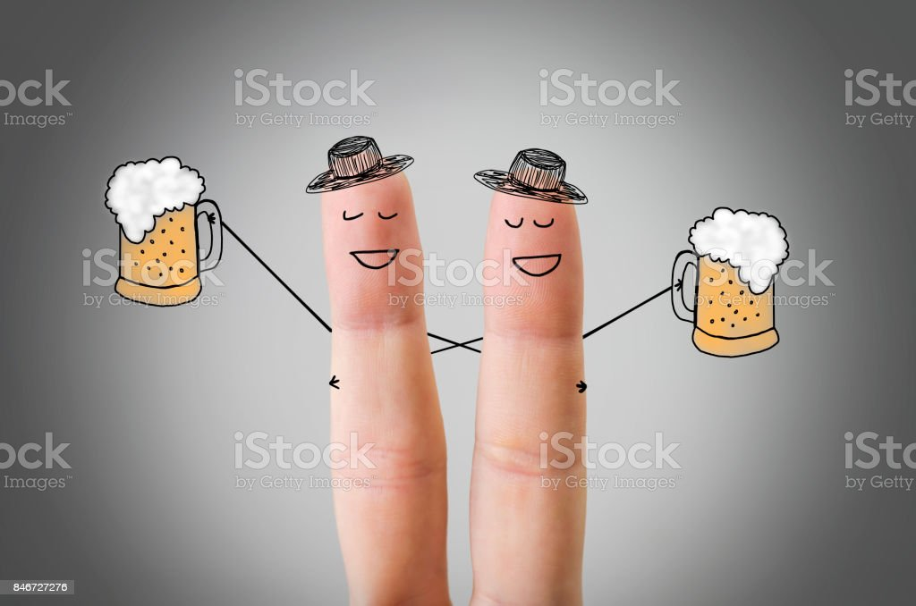 Happy finger friends having fun together stock photo