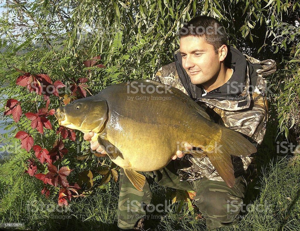 Happy fisherman royalty-free stock photo