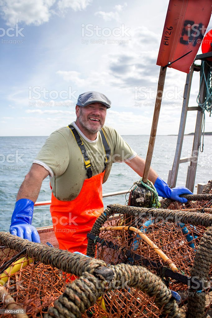 Happy Fisherman stock photo