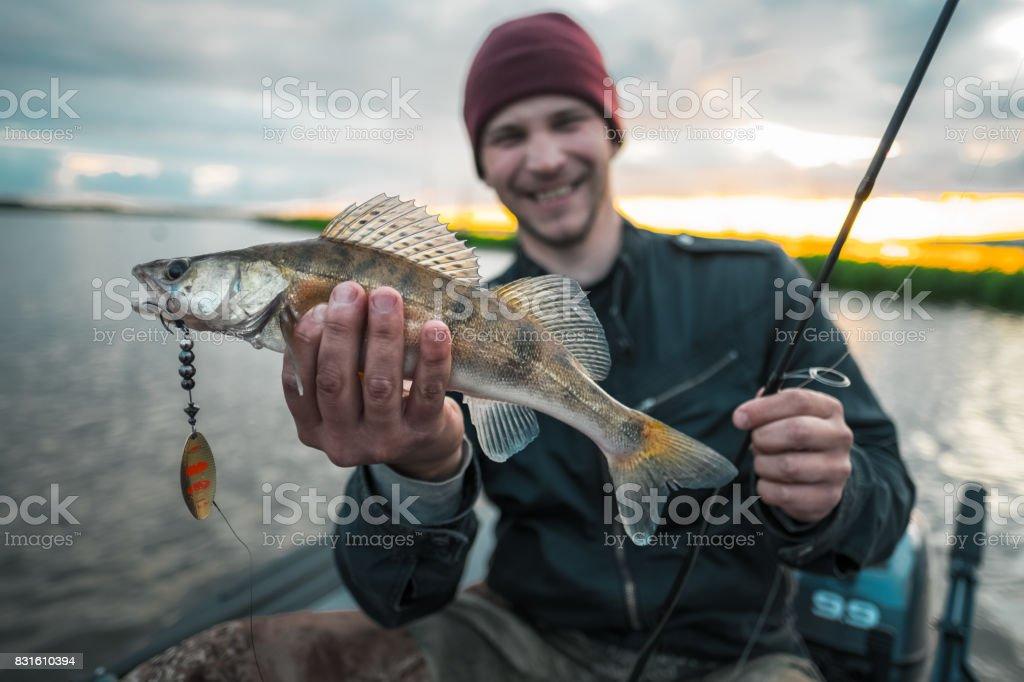 Happy fisherman - foto stock