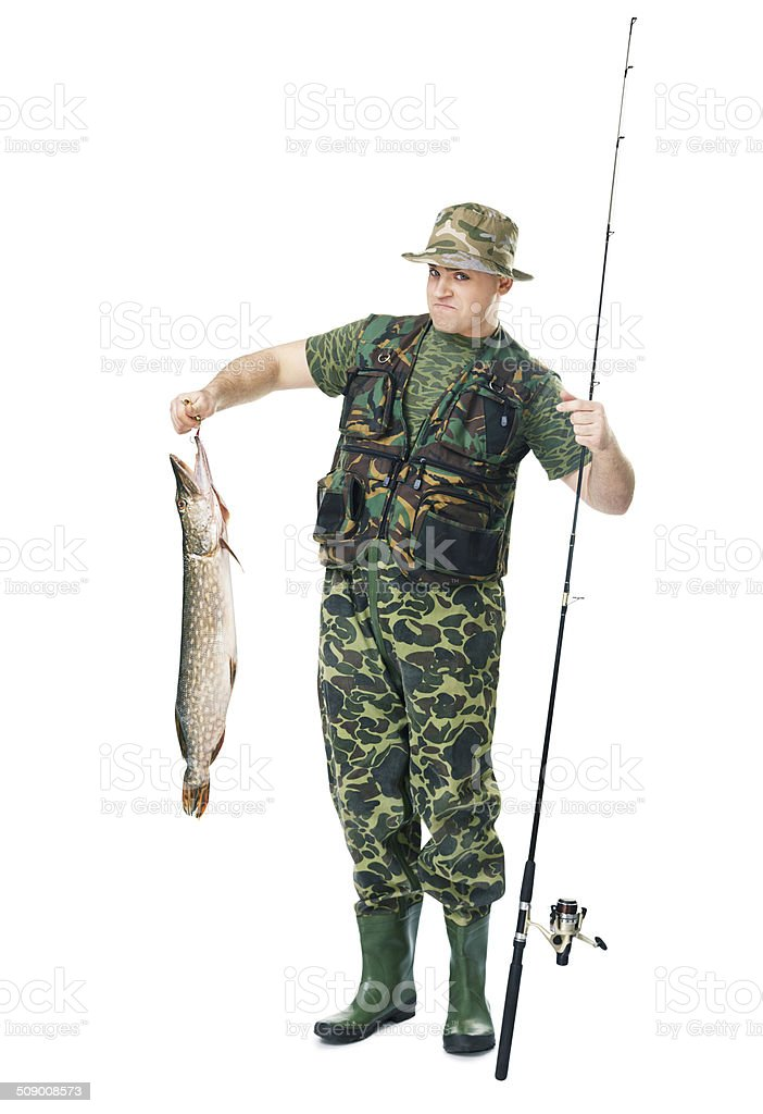 happy fisherman showing large fish stock photo