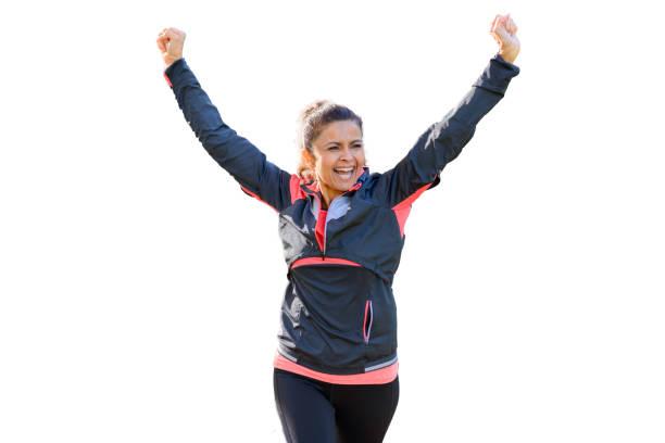 happy fit vrouw juichende en vieren - atlete stockfoto's en -beelden