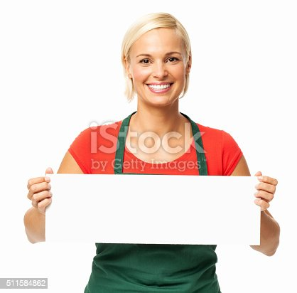 istock Happy Florist Holding Blank Placard 511584862