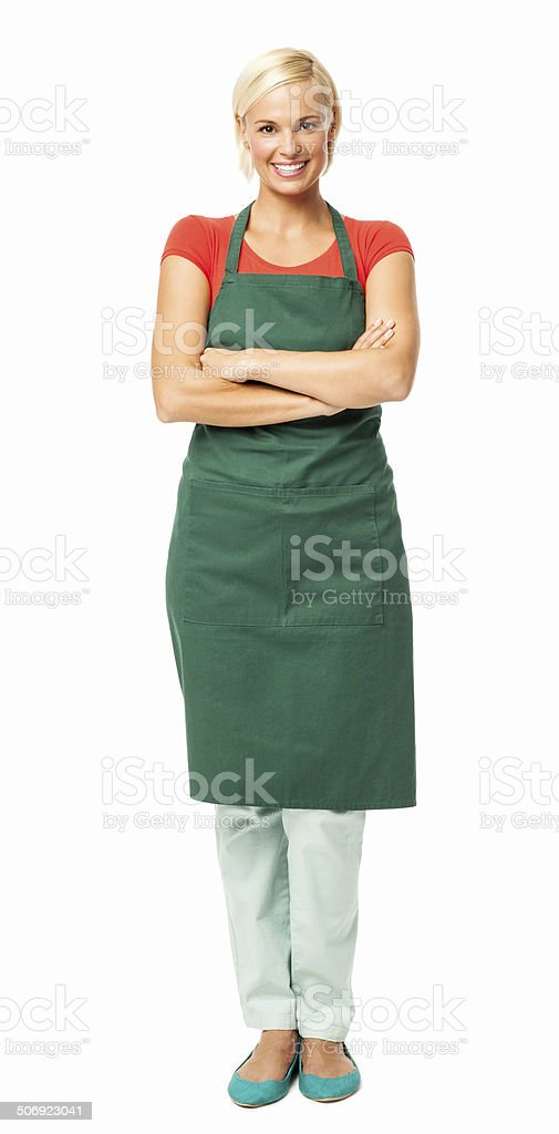 Happy Florist Standing Arms Crossed stock photo