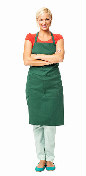 happy florist standing arms crossed - apron stock pictures, royalty-free photos & images