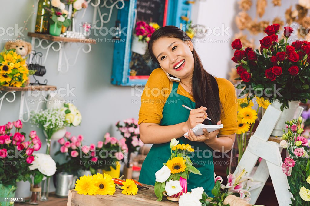Happy flower girl stock photo