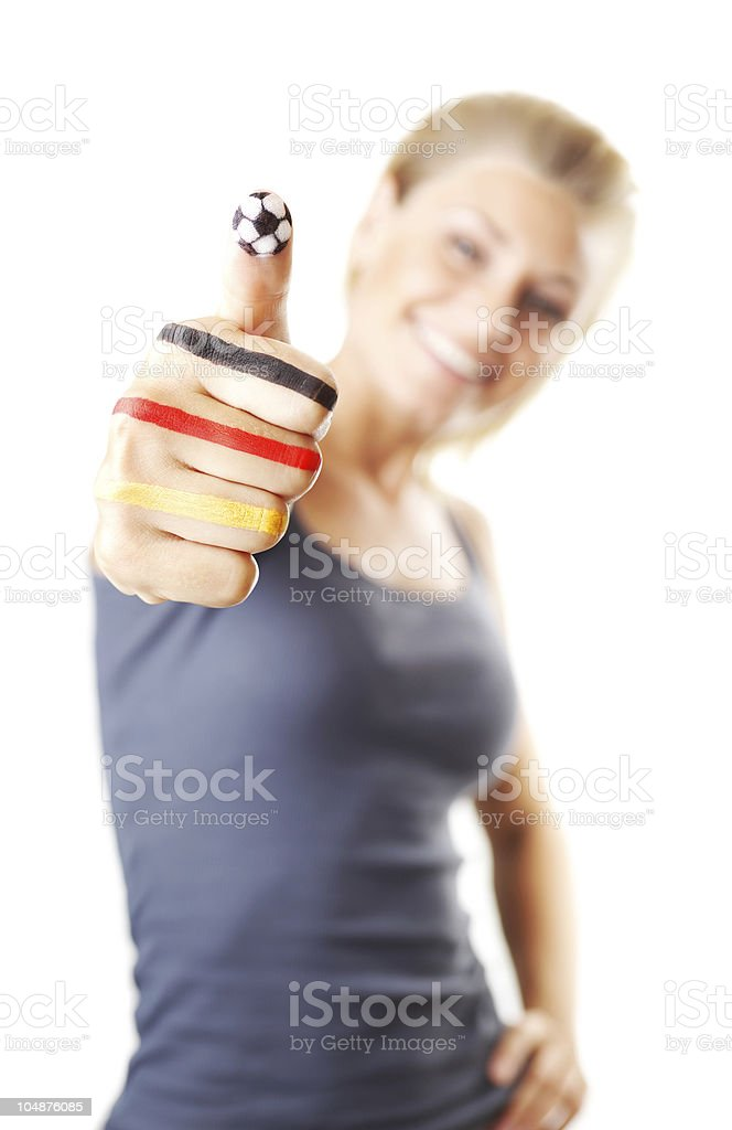 Happy football fan gesturing royalty-free stock photo