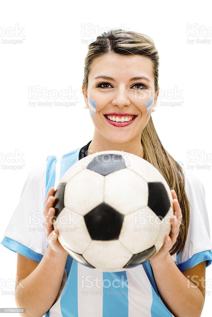 Happy football fan stock photo