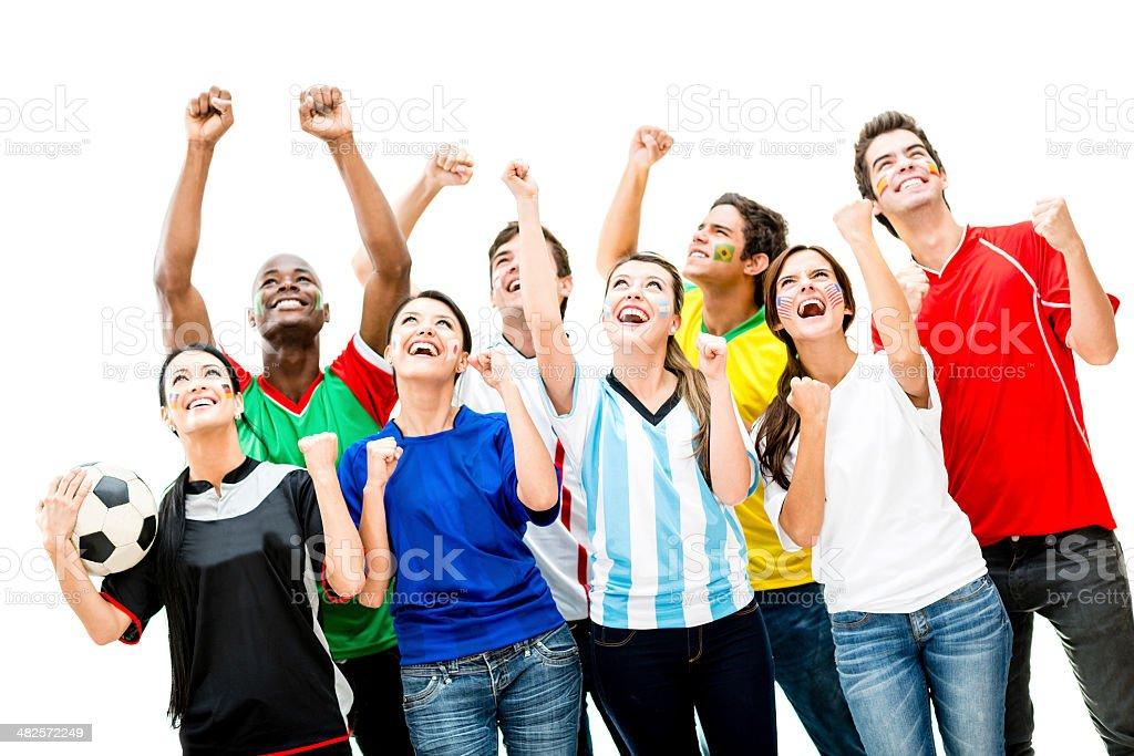 Happy football fans stock photo