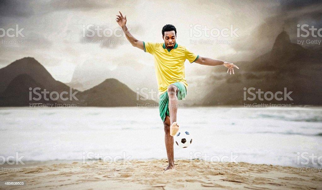 Happy football player royalty-free stock photo