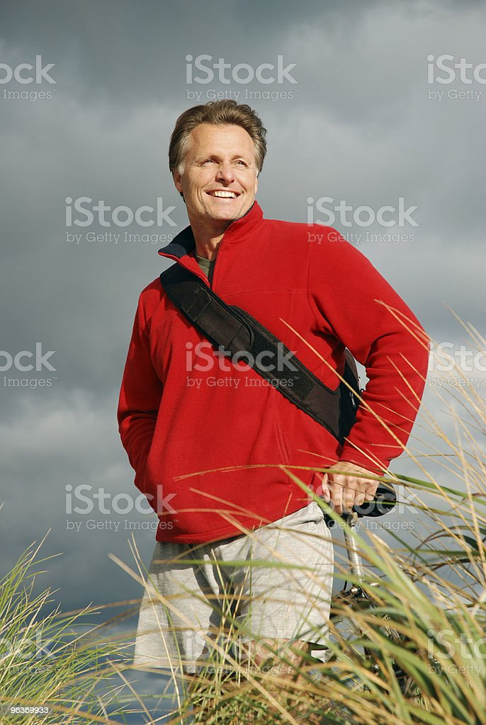 happy forties man stock photo