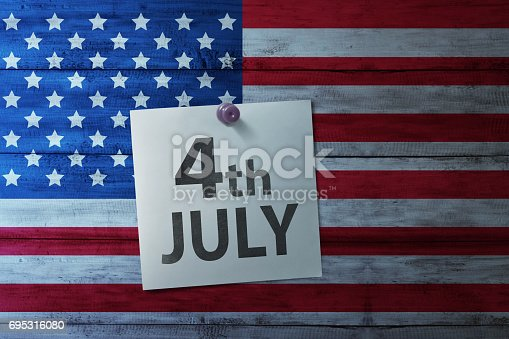 istock Happy Fourth 4th of July note on america flag 695316080